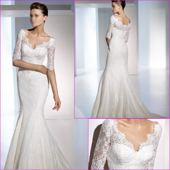 Free Shipping/2011 New arrival/Mermaid/Short sleeve/Satin&Lace/Chapel train/Wedding Dress/A1136