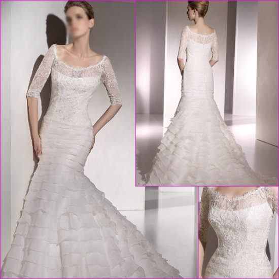 Free Shipping/2011 New arrival/Mermaid/Short sleeve/Satin&Lace/Chapel train/Wedding Dress/A1137