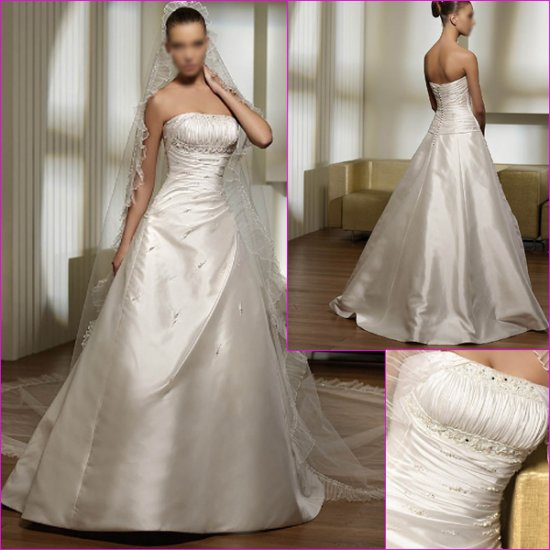 Free Shipping/2011 New arrival/A-line/Strapless/Satin/Chapel train/Wedding Dress/A1138