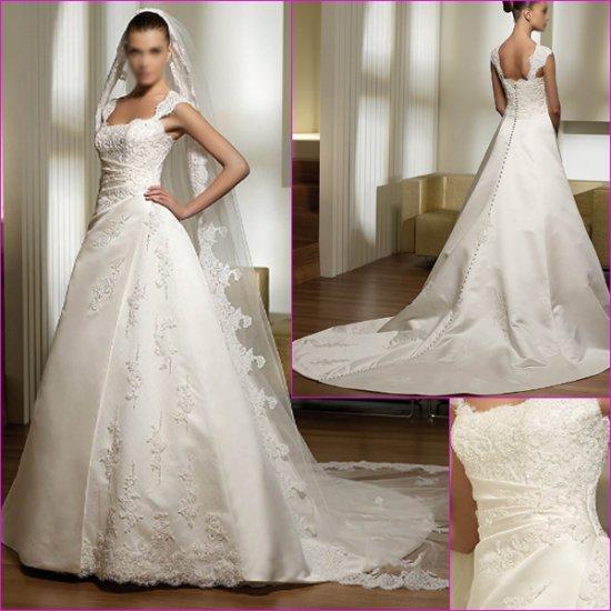 Free Shipping/2011 New arrival/A-line/Sleeveless/Satin/Chapel train/Wedding Dress/A1139