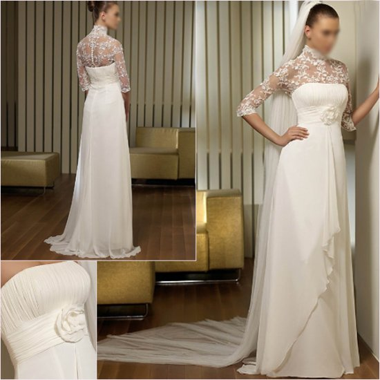 Free Shipping/2011 New arrival/A-line/Strapless/Chiffon/Floor Length/Wedding Dress/A1142