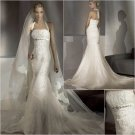 Free Shipping/2011 New arrival/Mermaid/Halter/Satin&Lace/Floor Length/Wedding Dress/A1143