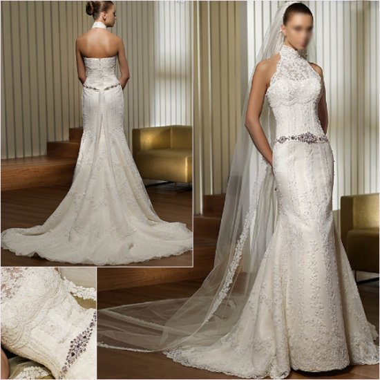 Free Shipping/2011 New arrival/Mermaid/Halter/Satin&Lace/Floor Length/Wedding Dress/A1144