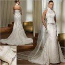Free Shipping/2011 New arrival/Mermaid/Halter/Satin&Lace/Floor Length/Wedding Dress/A1144