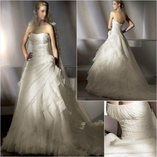 Free Shipping/2011 New arrival/A-line/Strapless/Satin&Organza/Chapel train/Wedding Dress/A1146