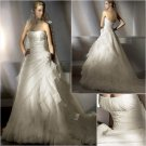 Free Shipping/2011 New arrival/A-line/Strapless/Satin&Organza/Chapel train/Wedding Dress/A1146