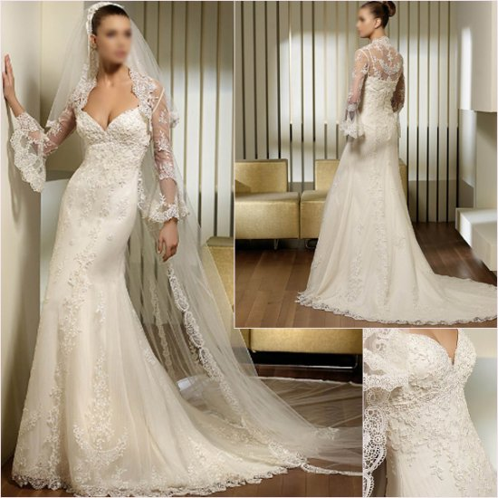 Free Shipping/2011 New arrival/A-line/Spaghetti/Satin&Lace/Chapel train/Wedding Dress/A1147