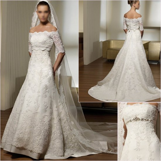 Free Shipping/2011 New arrival/A-line/Strapless/Satin&Lace/Chapel train/Wedding Dress/A1148
