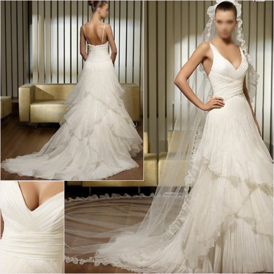 Free Shipping/2011 New arrival/A-line/Sleeveless/Satin&Organza/Chapel train/Wedding Dress/A1149