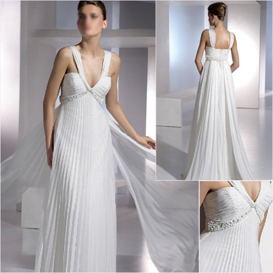 Free Shipping/2011 New arrival/A-line/Sleeveless/Chiffon/Chapel train/Wedding Dress/A1150