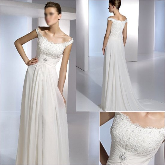 Free Shipping/2011 New arrival/A-line/Cap sleeve/Chiffon/Chapel train/Wedding Dress/A1151