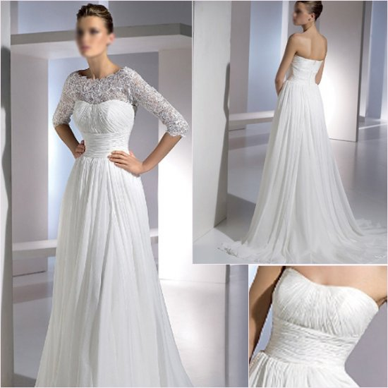 Free Shipping/2011 New arrival/A-line/Strapless/Chiffon/Chapel train/Wedding Dress/A1152
