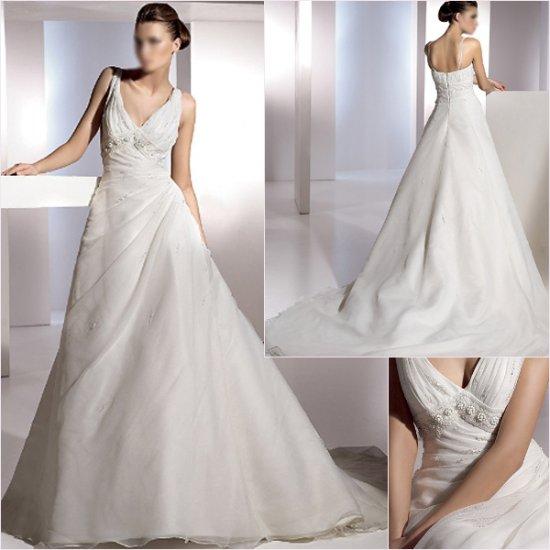 Free Shipping/2011 New arrival/A-line/Sleeveless/Satin&Organza/Chapel train/Wedding Dress/A1155
