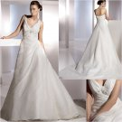 Free Shipping/2011 New arrival/A-line/Sleeveless/Satin&Organza/Chapel train/Wedding Dress/A1155
