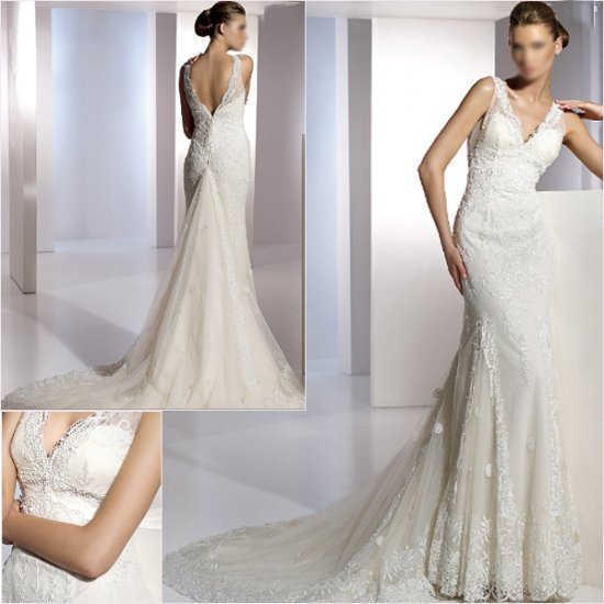 Free Shipping/2011 New arrival/A-line/Sleevless/Satin&Lace/Chapel train/Wedding Dress/A1156