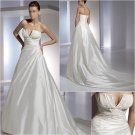 Free Shipping/2011 New arrival/A-line/Strapless/Satin/Chapel train/Wedding Dress/A1158
