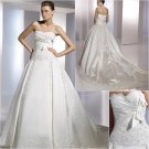 Free Shipping/2011 New arrival/A-line/Strapless/Satin/Chapel train/Wedding Dress/A1159