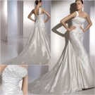 2011 New arrival  One-Shoulder Satin with applique Chapel train Bridal Wedding Gown/A1160