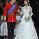 A-line V-neck Lace Satin Royal Length Train Wedding Dress inspired by  Kate Middleton