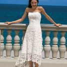 Free Shipping !!Concise/Strapless/A-Line/Princess/Tea-Length/Lace Bridal Wedding Dress/AA018