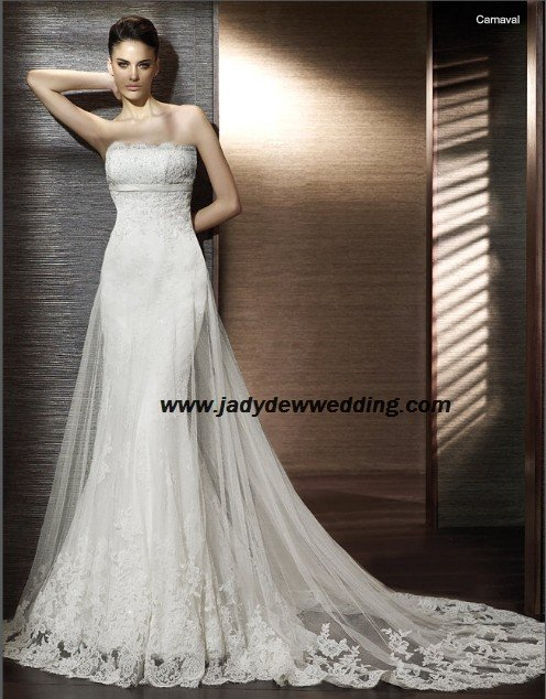 Free Shipping Strapless Satin&Lace Chapel train Wedding Gown A1197