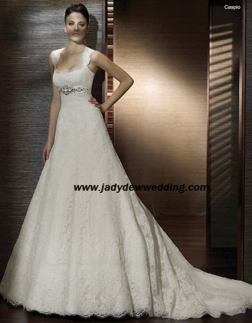 Free Shipping luxurious Lace Remove Strapless Wedding Dress A1196