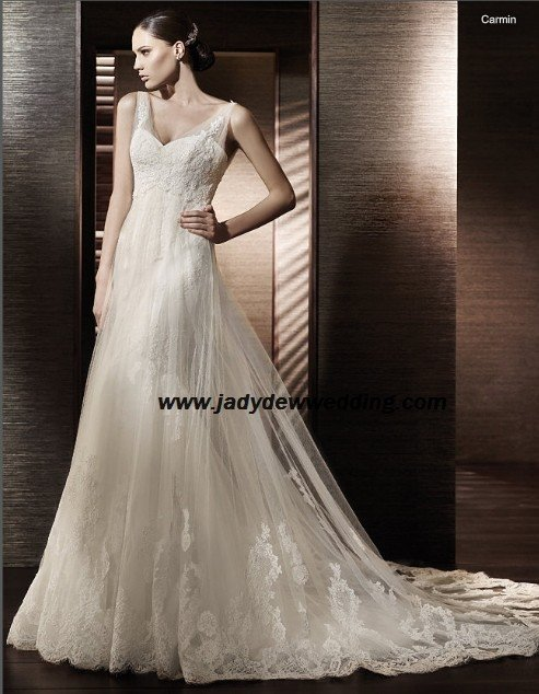 Free Shipping/2011 New arrival/A-line/Sleeveless/Satin&Lace/Chapel train/Wedding Dress/A1193