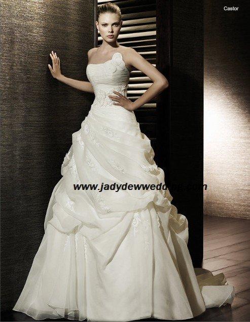 Free Shipping/2011 New arrival/A-line/Strapless/Satin&Organza/Chapel train/Wedding Dress/A1191