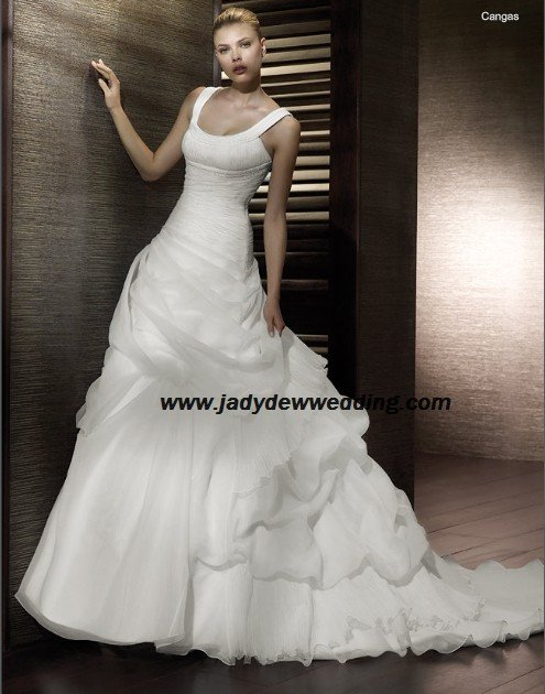 Free Shipping/2011 New arrival/A-line/Sleeveless/Satin&Organza/Chapel train/Wedding Dress/A1190