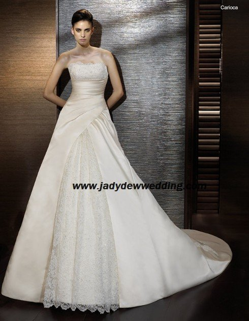 Free Shipping/2011 New arrival/A-line/Strapless/Satin&Lace/Chapel train/Wedding Dress/A1183