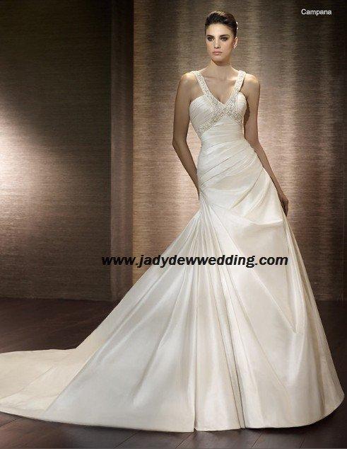 Free Shipping/2011 New arrival/A-line/Sleeveless/Taffeta/Chapel train/Wedding Dress/A1182