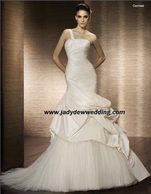 Free Shipping/2011 New arrival/Mermaid/One-Shoulder/Taffeta&Mesh/Chapel  train/Wedding Dress/A1177
