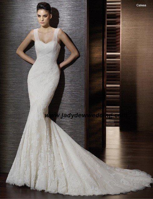 Mermaid Sleeveless Satin&Lace Chapel train BridalWedding Dress A1173