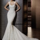Mermaid Sleeveless Satin&Lace Chapel train BridalWedding Dress A1173