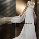 Free Shipping/2011 New arrival/A-line/Sleeveless/Satin&Chiffon/Chapel  train/Wedding Dress/A1172