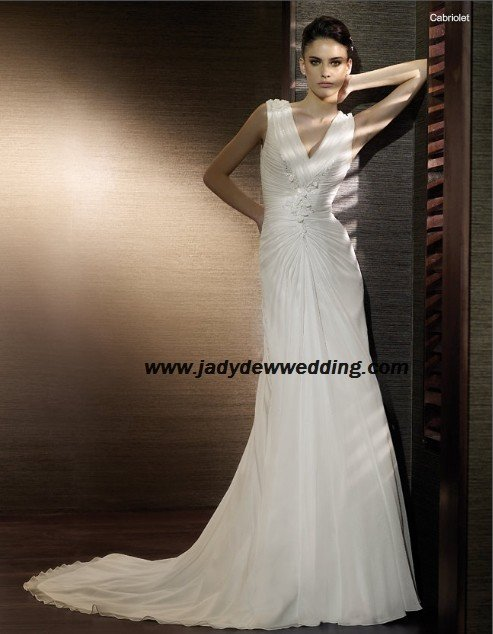 Free Shipping/2011 New arrival/A-line/Sleeveless/Satin&Chiffon/Chapel  train/Wedding Dress/A1171