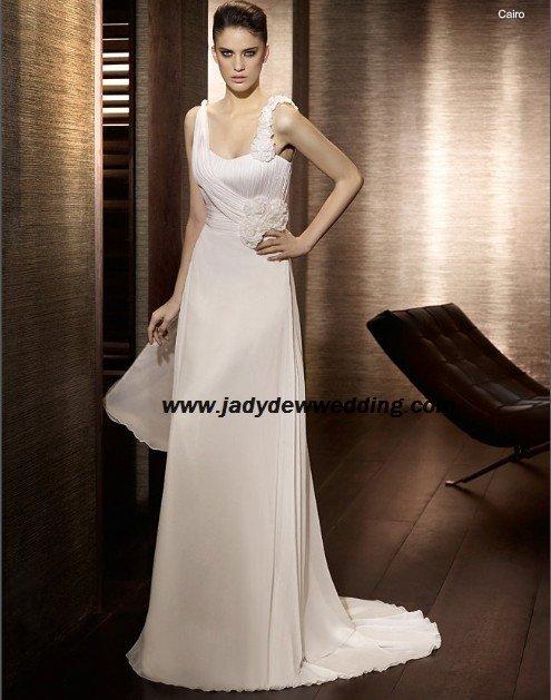 Free Shipping/2011 New arrival/A-line/Sleeveless/Satin&Chiffon/Chapel  train/Wedding Dress/A1170