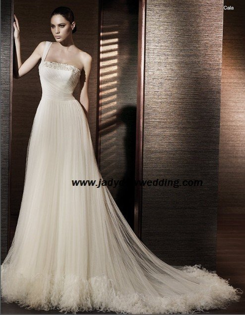 Empire waist Satin&tulle Chapel train One-shoulder Bridal Wedding gown A1168
