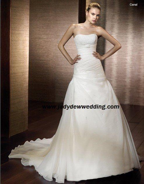 luxurious Satin&Organza A-line Strapless Bridal Gown A1167