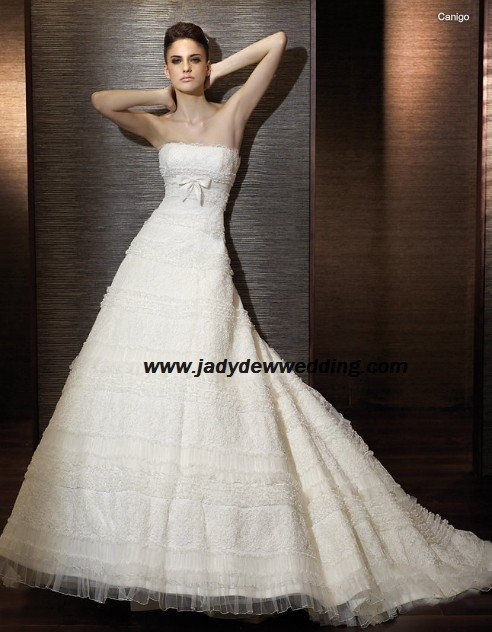 Free Shipping A-line Satin&Lace Chapel train Strapless Bridal Wedding Dress A1165