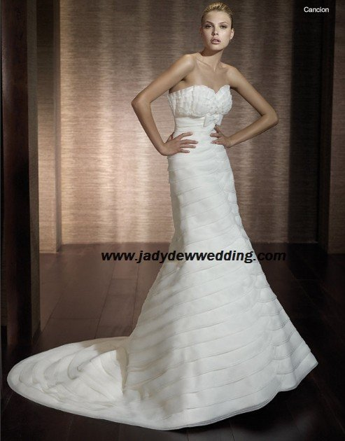 Free Shipping! High-quality Strapless Satin&Organza Chapel train Bridal Wedding Dress A1164