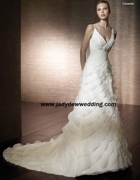 Free Shipping Satin&Organza Chapel train V-neck Wedding Dress A1163