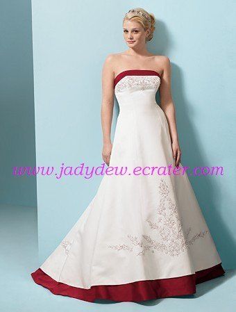 A-line/Strapless/Satin/Court train/Bridal Gown/AA112