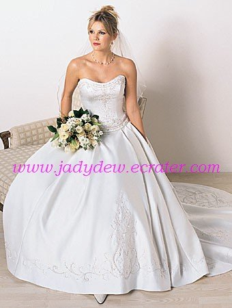 Delicate/Satin/with Embroidery/Strapless/A-Line/Princess/Floor Length/Wedding Dress/AA109
