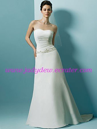 Laconic/Satin/with Beading/Strapless/A-Line/Princess/Floor Length/Wedding Dress/AA108