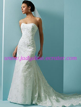 Beautiful/Strapless/Lace&Stretch Satin/A-Line/Princess/Floor Length/Wedding Dress/AA105