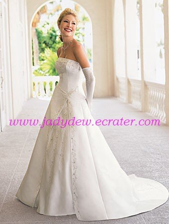Delicate/Embroidery/Strapless/A-Line/Princess/Floor Length/Wedding Dress/AA103
