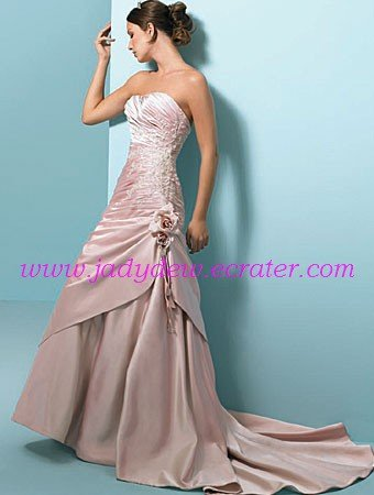 Delicate/Strapless/A-Line/Princess/Floor Length/Satin with Handmade Flower/Bridal Gown/AA097