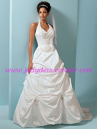 Graceful/Halter/Sweetheart Neckline/A-Line/Princess/Taffeta/with Appliques/Wedding Dress/AA090