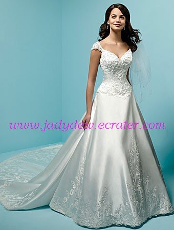 Delicate/Cap Sleeves/Sweetheart Neckline/A-Line/Princess/Satin/with Appliques/Bridal Gown/AA088